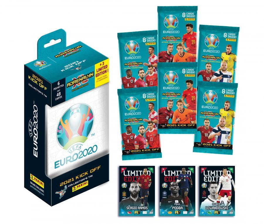 Boîte métal 48 cartes + 3 Cartes en Édition Limitée Panini UEFA Euro 2020 ADRENALYN XL 2021 Kick Off