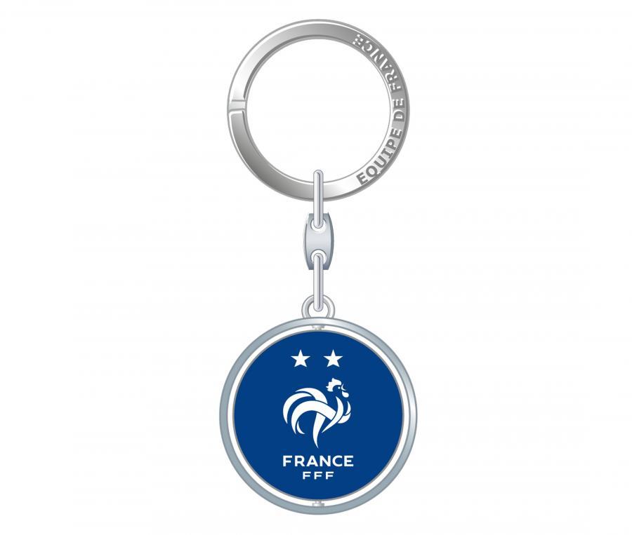 Porte-clés FFF 2 étoiles Pivot Argenté/Bleu