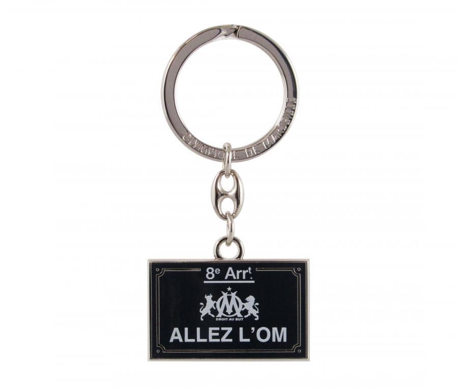 Porte-clés Plaque de rue OM Allez l'OM Noir