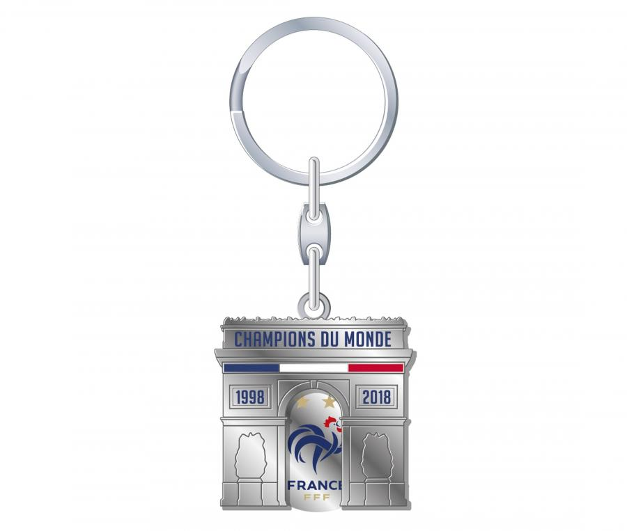 Porte-clés FFF Jeton Arc de Triomphe Argenté